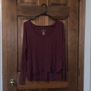Maroon soft and sexy ribbed long sleeve!
